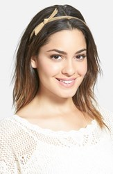 Cara 'Chain Bow' Headband Beige Tan
