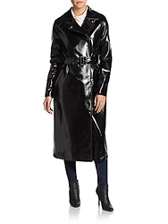 Dawn Levy Pippa Faux Leather Belted Coat Black