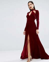 Asos Red Carpet Velvet Keyhole Fishtail Maxi Dress Oxblood Black