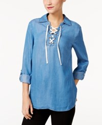 Styleandco. Style Co. Lace Up Denim Top Only At Macy's Sun Wash