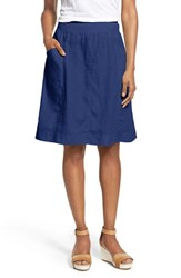 Women's Eileen Fisher Organic Linen Knee Length Skirt Sapphire