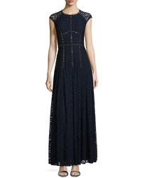 Rebecca Taylor Cap Sleeve Lace Gown Navy