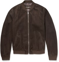 Dolce And Gabbana Suede Bomber Jacket Chocolate