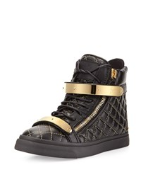 Giuseppe Zanotti Quilted Leather High Top Sneaker Black Black Gold