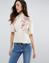 Asos Tea Blouse With Embroidery Nude Blue