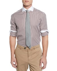 Brunello Cucinelli Poplin Striped Dress Shirt White Brown