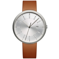 Uniform Wares M40 Calendar Wristwatch Brushed Steel And Tan Leather