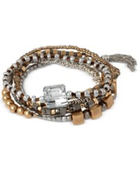 Kenneth Cole New York Set Of 6 Two Tone Bead And Crystal Stretch Bracelets