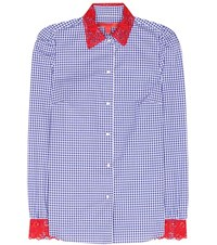 Tommy Hilfiger Lace Trimmed Cotton Shirt Blue