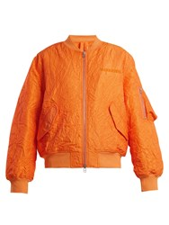 Mhi Logo Embroidered Crinkled Bomber Jacket Orange