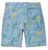 Engineered Garments Embroidered Cotton Chambray Shorts Blue