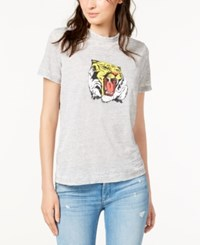 Hudson Jeans Short Sleeve Graphic T Shirt Worn Out Grey
