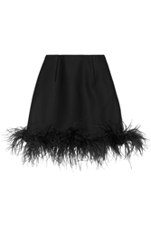 Lanvin Feather Trimmed Wool Blend Mini Skirt