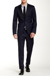 Tiger Of Sweden Blue Solid Two Button Peak Lapel Wool Suit