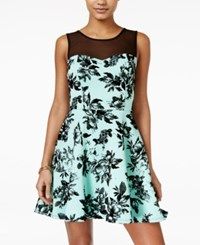 Trixxi Juniors' Floral Illusion Dress Mint Black