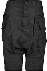 Rick Owens Coated Cotton Cargo Shorts Black