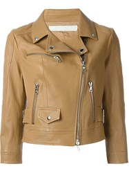 Drome Cropped Biker Jacket Brown