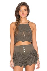 Somedays Lovin Serenade Lace Crop Top Army
