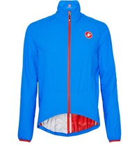 Castelli Riparo Water Resistant Nylon Ripstop Cycling Jacket Bright Blue