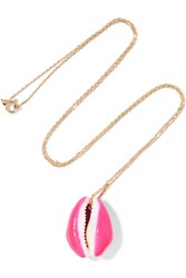Aurelie Bidermann 18 Karat Gold Porcelain Shell Necklace Pink