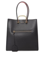 Alexander Mcqueen The Tall Story Leather Tote Bag Black Red