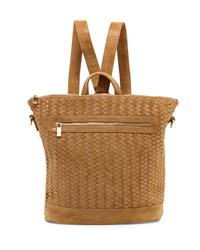 Neiman Marcus Distressed Woven Square Backpack Sand Brown
