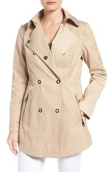 Guess Women's Hooded Double Breasted Anorak Khaki