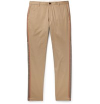 Burberry Slim Fit Grosgrain Trimmed Cotton Twill Chinos Brown