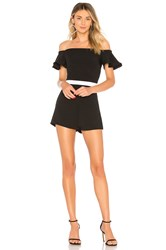 About Us Lulu Ruffle Off Shoulder Romper Black