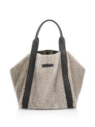 Brunello Cucinelli Large Reversible Shearling And Metallic Leather Tote Beige