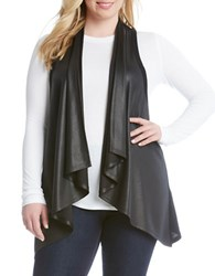 Karen Kane Plus Faux Leather Vest Black