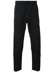 Pence Striped Tailored Trousers Men Cotton 50 Black