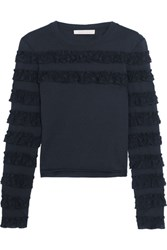 See By Chloe Ruffle Trimmed Cotton Jersey Top Midnight Blue