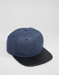 Asos Snapback In Melton With Contrast Navy Blue