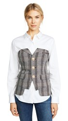 Laveer Button Up Bustier Herringbone Plaid
