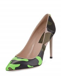 Valentino Camouflage Print Leather 100Mm Pump Green Army