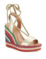 Kate Spade Daisy Too Leather Espadrille Wedge Sandals Gold