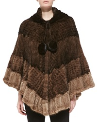 La Fiorentina Colorblock Mink Fur Poncho Brown