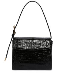 Balenciaga Croc Embossed Leather Shoulder Bag Black