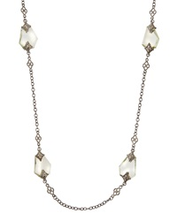 Armenta Silver Cable Link Necklace With Amethyst Facets And Diamonds