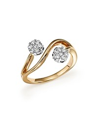 Bloomingdale's Diamond Double Flower Ring In 14K White And Yellow Gold .30 Ct. T.W. White Gold