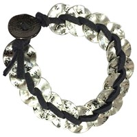 One Button Doughnuts Suede Stap Bracelet Black Silver