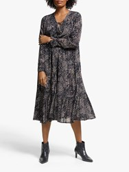 And Or Sofia Santiago Print Midi Dress Grey Charcoal