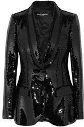 Dolce And Gabbana Sequined Satin Blazer Black