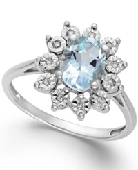 Macy's Aquamarine 1 Ct. T.W. And Diamond Accent Ring In 14K White Gold