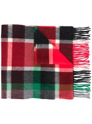Begg And Co Checked Fringed Scarf Red
