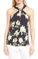 Classiques Entierr Women's Entier Stretch Silk Halter Top Navy Night Lily Silhouette
