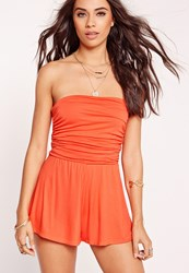 Missguided Jersey Bandeau Ruched Playsuit Orange Orange