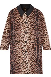 Boutique Moschino Leopard Print Wool Blend Coat