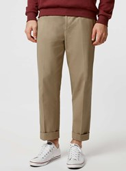Topman Sand Cotton Twill Wide Leg Cropped Trousers With Turn Up Beige